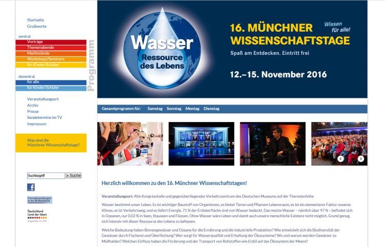 Website für die Münchner Wissenschaftstage erstellt